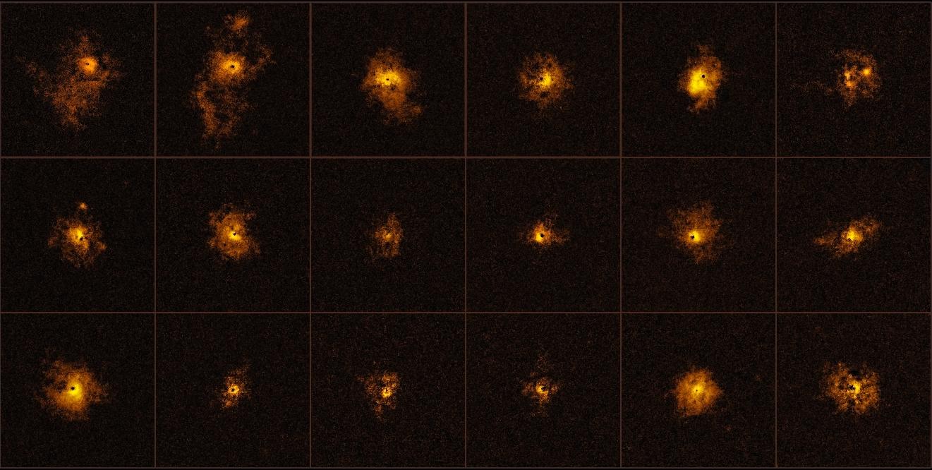 Mosaico com 18 dos 19 quasares observados com o MUSE
