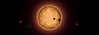 Imagem artística do sistema Kepler-444