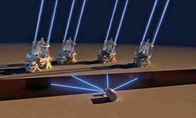 Imagem artística do espetrógrafo ESPRESSO a receber a luz dos quatro telescópios de 8,2 metros do VLT.