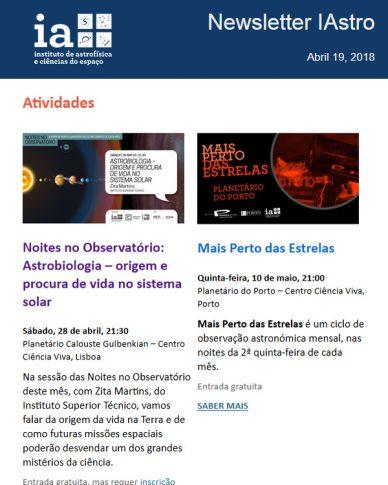 Newsletter IAstro Abril 2018