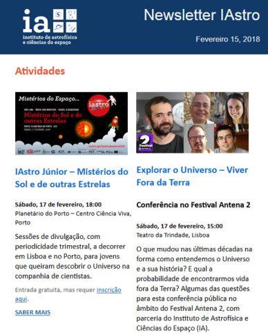 Newsletter IAstro : Fevereiro 2018