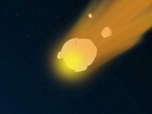Fotograma da curta-metragem de animação de Felix Lima sobre meteoros e meteoritos.