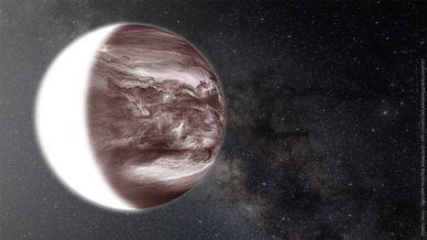 Composição de uma imagem de Vénus obtida no infravermelho, com a Via Láctea em fundo.