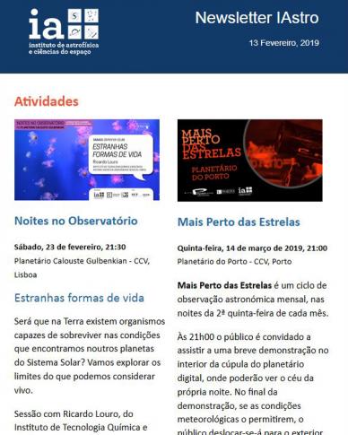 Newsletter IAstro Fevereiro 2019