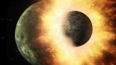 Representação artística do que terá sido o impacto que terá originado o sistema Terra-Lua.
