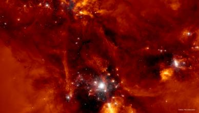 Simulação computacional da formação de um protoenxame de galáxias.