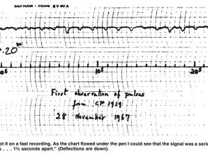 Registo do sinal do primeiro pulsar descoberto por J. Bell