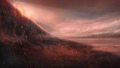 Interpretação artística da atmosfera do exoplaneta WASP-76b.
