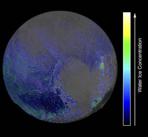 Concentração de gelo de água em Plutão