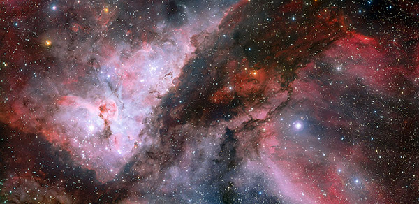 Panoramic view of the regions WR 22 and Eta Carina in Carina Nebulae