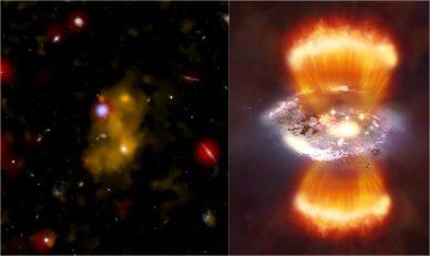 Esquerda - Imagem composta de uma rádio galáxia e bolha de gás, no visível, infravermelhos e raios X. Direita – Imagem artística da galáxia, com emissão de jatos.