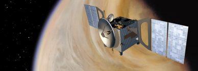Imagem artística da sonda Venus Express e o planeta Vénus.