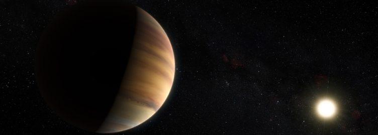 Esta impressão artística mostra o exoplaneta do tipo Júpiter quente 51 Pegasi b, que orbita uma estrela a cerca de 50 anos-luz de distância, na constelação do Pégaso.