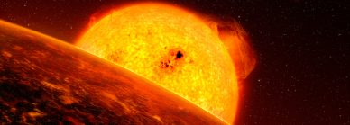 Imagem artística, com detalhe do exoplaneta Corot-7b.