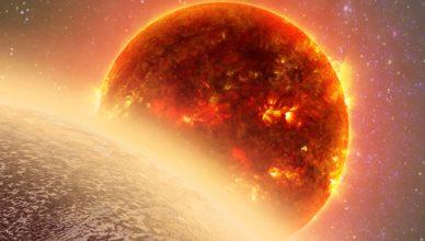 Imagem artística, com o planeta GJ 1132b no canto inferior esquerdo, e a estrela anã vermelha GJ 1132 ao centro.