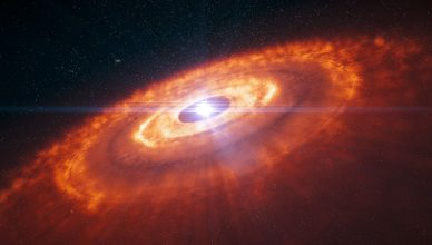 Artistic impression of a young star surrounded by a protoplanetary disc
