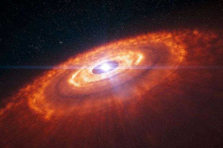 Impresão artística de uma estrela jovem rodeada por um disco protoplanetário