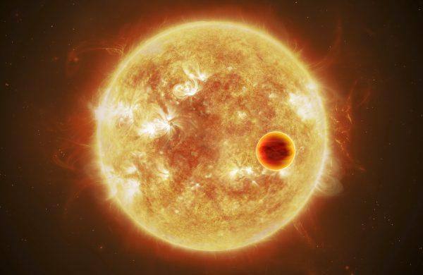 Conceção artística de um exoplaneta a passar (transitar) em frente da sua estrela.