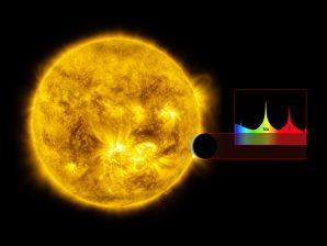 Impressão artística que representa um exoplaneta a passar em frente da sua estrela.