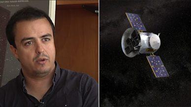 Tiago Campante, do Instituto de Astrofísica e Ciências do Espaço. À direita, imagem artística do satélite TESS no espaço.