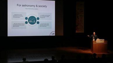 João Retrê presenting Viver Astronomia programme at CAP 2018 conference