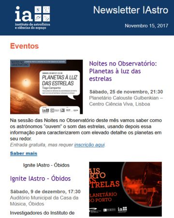 Newsletters IAstro : Novembro 2018