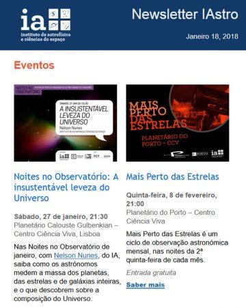 Newsletter IAstro : Janeiro 2018