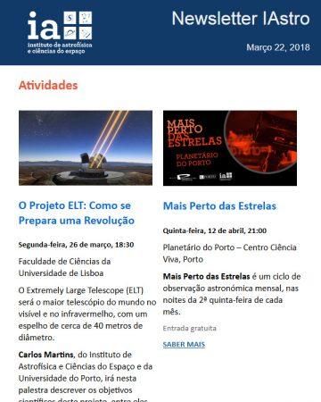 Newsletters IAstro : Março 2018
