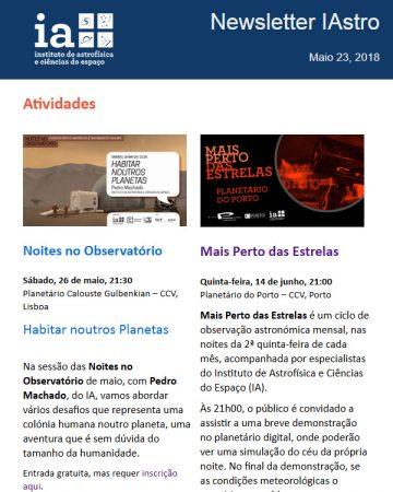 Newsletter IAstro, Maio 2018