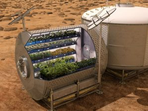Artistic concept of a greenhouse on the surface of Mars for food production.
