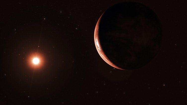 Imagem artística de uma super-Terra em órbita de uma estrela anã vermelha.
