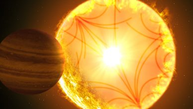 Imagem artística do sistema Kepler-1658.