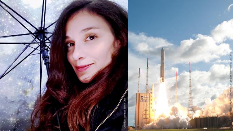 Imagem partilhada por Vanessa Dias no Twitter em novembro de 2018 e premiada no concurso #SpaceSelfie, organizado pela Agência Espacial Europeia (ESA), e vista aérea das plataformas de lançamento na base espacial da ESA em Kourou, na Guiana Francesa.