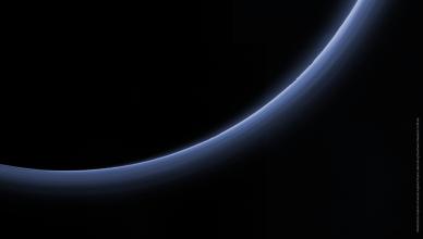 Atmosfera de Plutão, observada pela sonda New Horizons, da NASA, em julho de 2015.