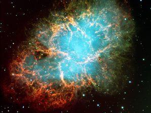 Nebulosa do Caranguejo, o remanescente de uma supernova.