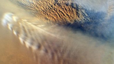 Image of a dust storm on Mars taken in 2007 by Mars Reconnaissance Orbiter, of NASA.