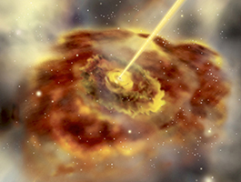 Artist's impression of an active galaxy that has jets.