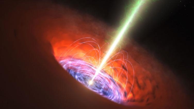 Conceção artística de um buraco negro supermassivo.