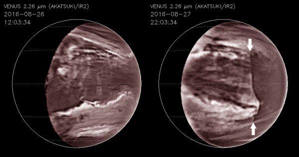Venus cloud disruption - Akatsuki, 2016