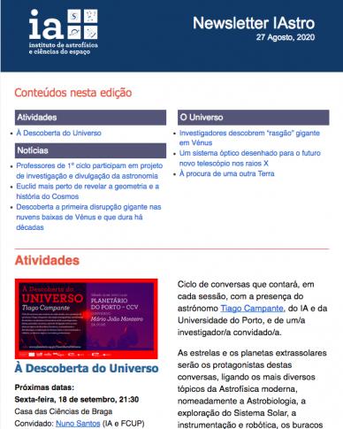 Newsletter IAstro Agosto 2020