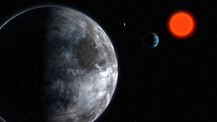 Conceção artística do sistema planetário em torno da estrela anã vermelha Gliese 581.