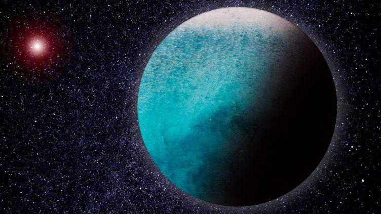 Imagem artística do exoplaneta aquático LHS 1140 b