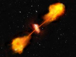 Conceção artística de uma galáxia com emissão eletromagnética no rádio.