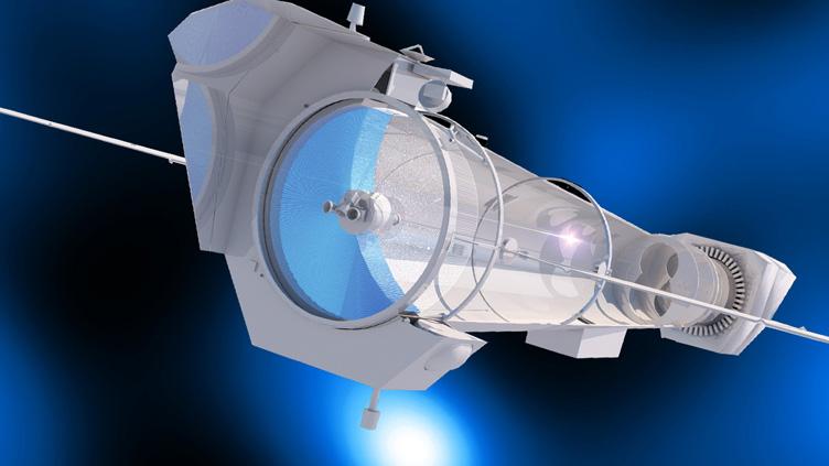 Conceção artística do interior do telescópio de raios X Athena.
