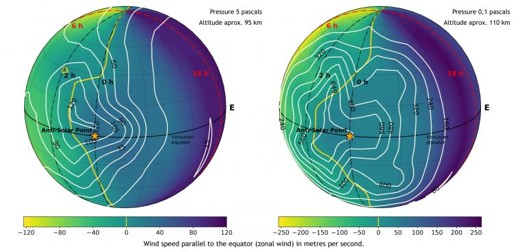 Map of wind speeds at 95 and 110 kilometres of altitude, approximately, on the nightside of Venus, according to simulations with the Venus General Circulation Model (VGCM).