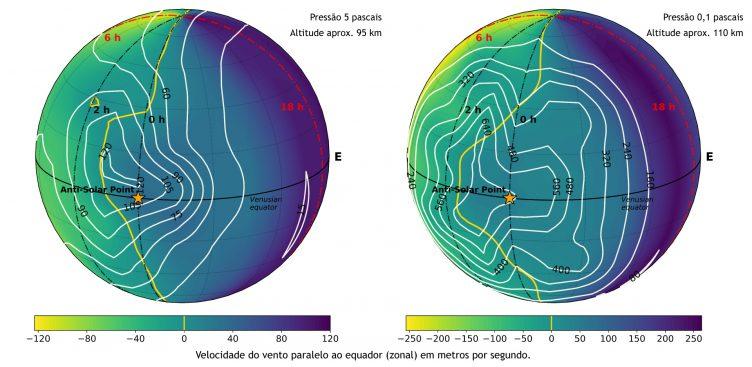 Mapa das velocidades dos ventos a 95 e 110 quilómetros de altitude, aproximadamente, no lado noturno de Vénus, segundo simulações com o Modelo Geral da Circulação de Vénus.