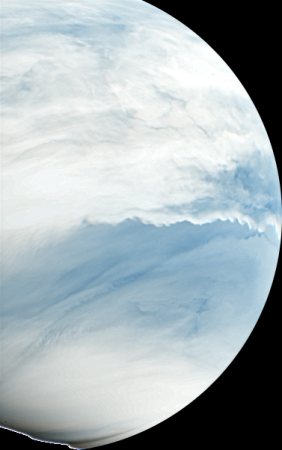 A synthesized false colour image of Venus in the infrared light, taken by the IR2 camera on board of the Akatsuki probe, of the Japanese space agency JAXA.