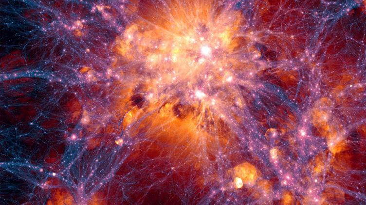 Simulação de larga escala do Universo.